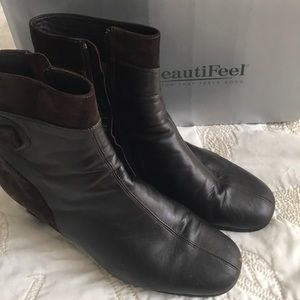 Beautiful Feet cocoa brown leather and suede boots